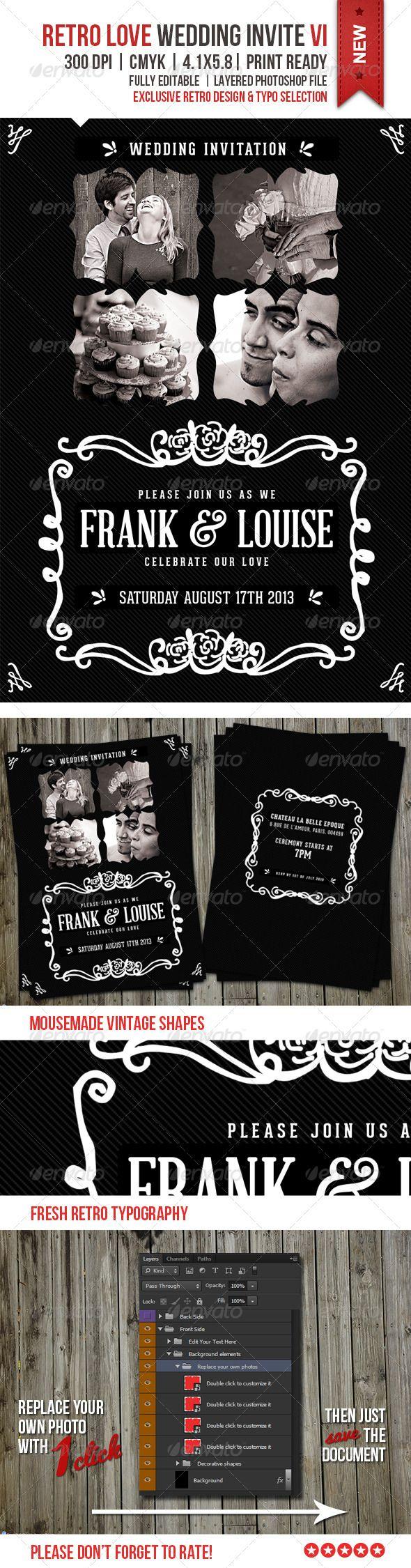 design printable invitation cards online free%0A Retro Love Wedding Invite VI  Printable Wedding InvitationsInvitation  TemplatesPrint
