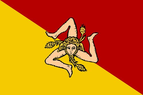 The flag of Sicily featuring the distinctive triskelion!