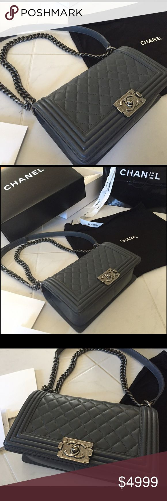 Chanel Boy Bag in grey Chanel boy bag in gunmetal grey, never been worn. Purchased at Chanel store in nyc and I changed my mind after the date was up to return. Comes with original RECIEPT dated this year, all Chanel authenticity cards and original packaging by the Chanel store. Shopping bag, dust bag, box, ribbon everything. It's yours! I had a change of heart! CHANEL Bags Crossbody Bags