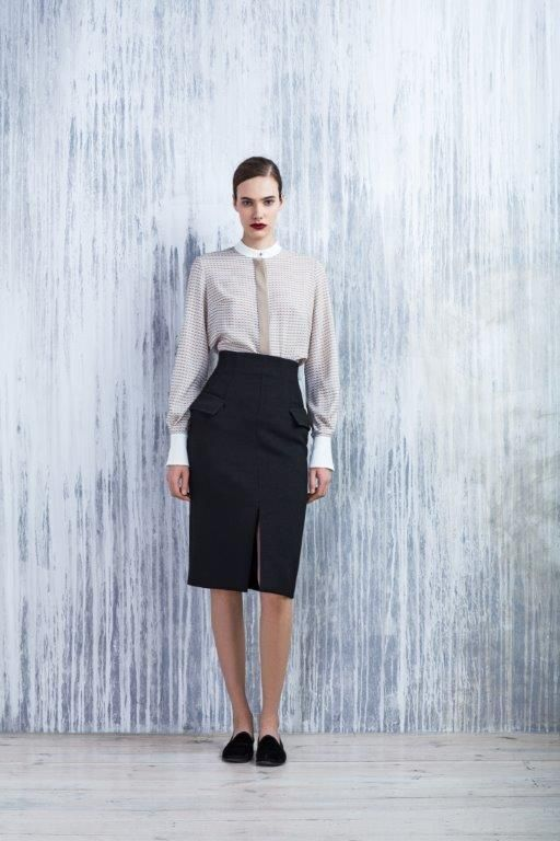 LUBLU Kira Plastinina digital print mock collar blouse and pencil skirt with pockets and front slit.
