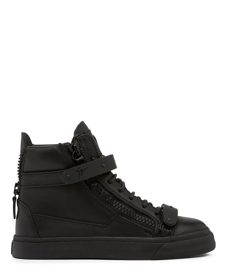 Giuseppe Zanotti Women's Black Matte Hardwear Leather Mid Top Sneaker (Pre Order) - Sneakerboy