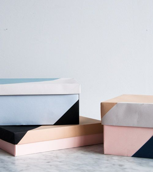 love this so much! // DIY: colour blocked paper boxes