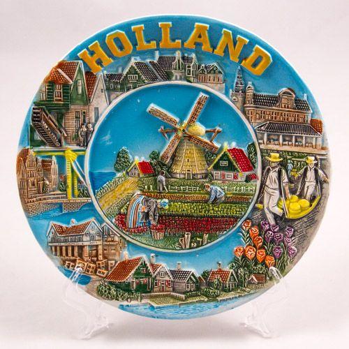 Souvenir Plate: Netherlands. Typical Dutch Landscape (Ceramics, Diameter 19 cm)