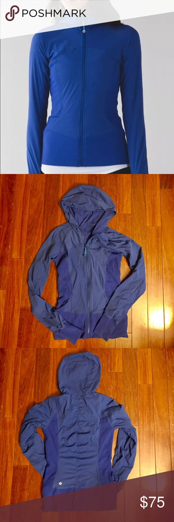 "☀️SALE!!☀️Sapphire Lululemon ""In Flux"" jacket In good, like new condition! No rips, holes, stains or pilling. Worn 3-5 times. Hang dried only! lululemon athletica Tops Sweatshirts & Hoodies"