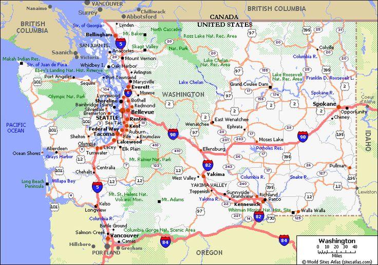 Washington State Driving Map Usawagif PACIFIC NORTHWEST - Map of northwest us and canada
