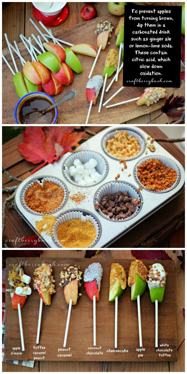 Fall Recipes ~ Apple Slices on a Stick with Toppers ~ Why has this never occurred to me? So much easier to eat and not to much!
