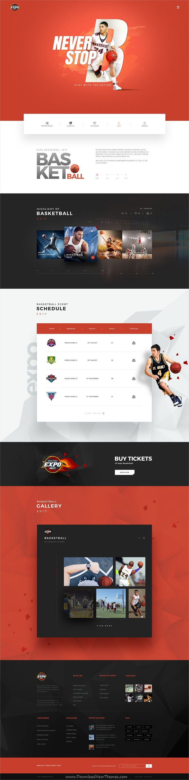 Expo is clean and modern design PSD template for multipurpose #basketball #sports events website with 18+ layered PSD pages download now #webdev