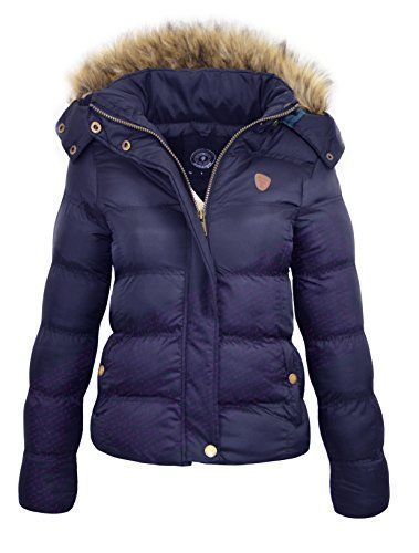 87f05148b49 NEW PADDED Ladies Hood Fur WINTER COAT Womens Jacket Quilted Jacket ...