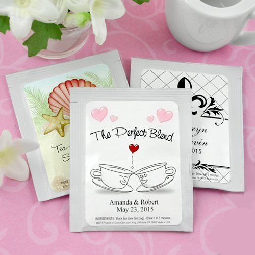 Personalized Wedding Tea Bag Favors by Beau-coup.. Perfect complement to mini honey jar favors.
