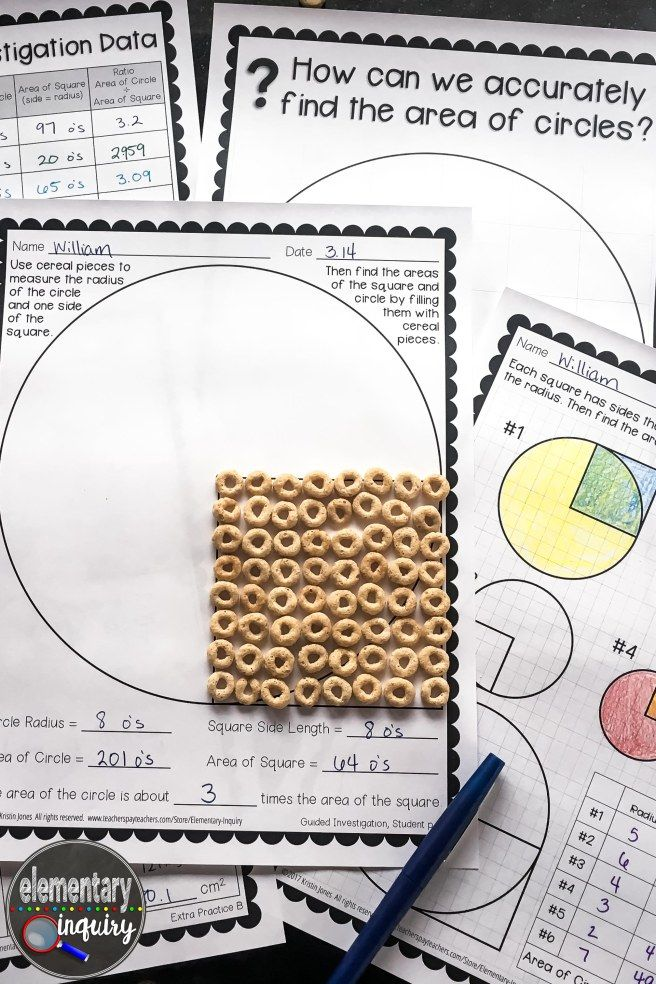 circle area formula inquiry lesson with cereal o's #piday #elementaryinquiry
