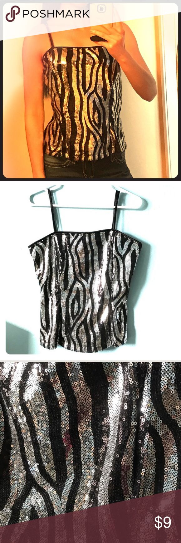 Body Central Sequin Cami Hot!  Zebra print sequined camisole by Body Central.  Adjustable spaghetti straps.  Zip back.  Worn once.  Price is firm unless bundled. Body Central Tops Camisoles