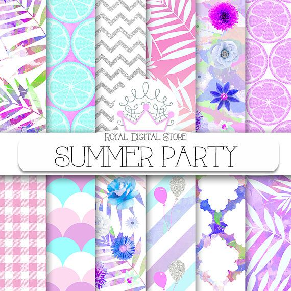 #summer  Digital Paper: SUMMER PARTY with palm #partyideas #digitalpaper #palm #leaves #watercolor #floralprint #glitter #purple #pink