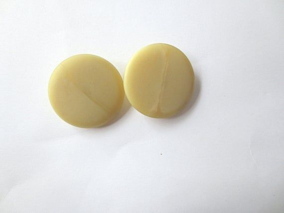 Vintage Yellow White Circle Buttons Large Set Of 4