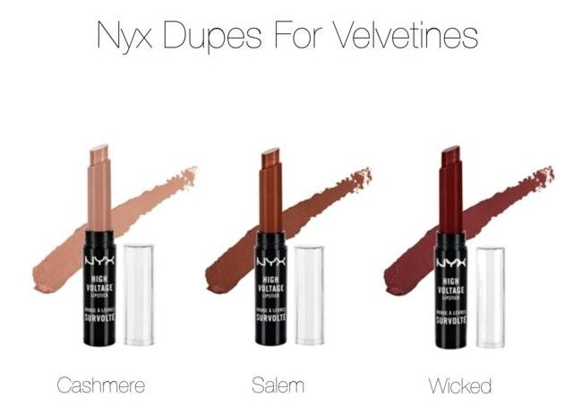 """""""Nyx Dupes For Lime Crime Velvetines"""" by voodoo-dolly ❤ liked on Polyvore featuring beauty"""