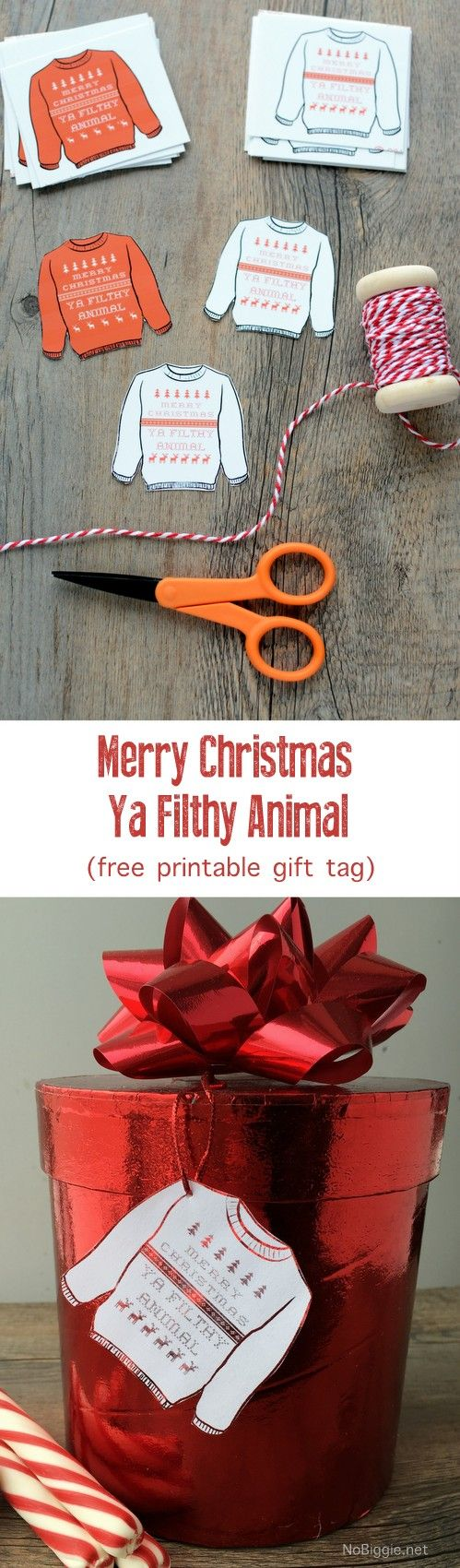 Merry Christmas Ya Filthy Animal (free printable gift tags)   NoBiggie.net Get in the holiday spirit with HOME ALONE, download your copy today! #FoxChristmas #ad