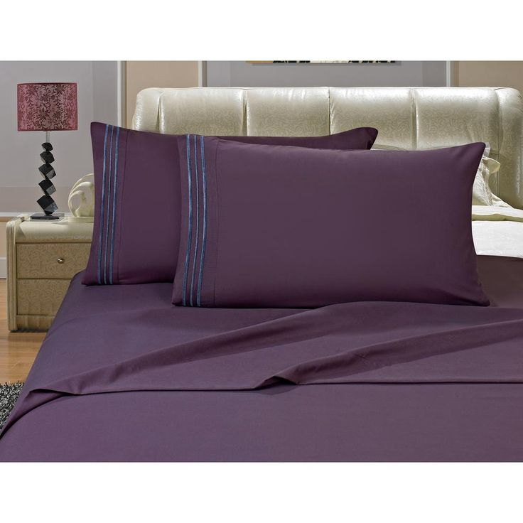 1500 Series 4-Piece PurpleTriple Marrow Embroidered Pillowcases Microfiber California King Size Bed Sheet Set, Purple