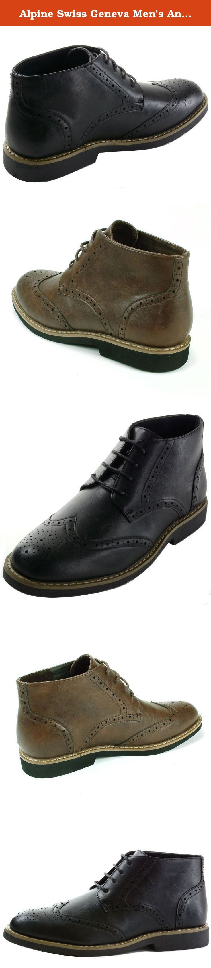 Alpine Swiss Geneva Men's Ankle Boots Lace Up Brogue Medallion Wing Tips. Alpine Swiss Geneva Men's Ankle Boots Lace Up Brogue Medallion Wing Tips.