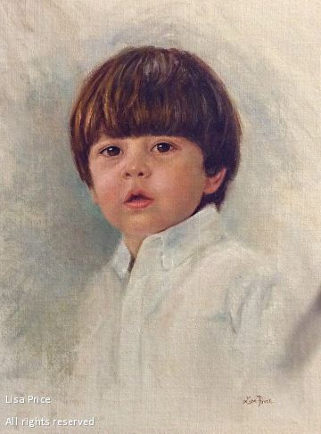 Portrait painting of Jackson by Lisa Price - alla prima oil on linen panel ~ 16 x 12