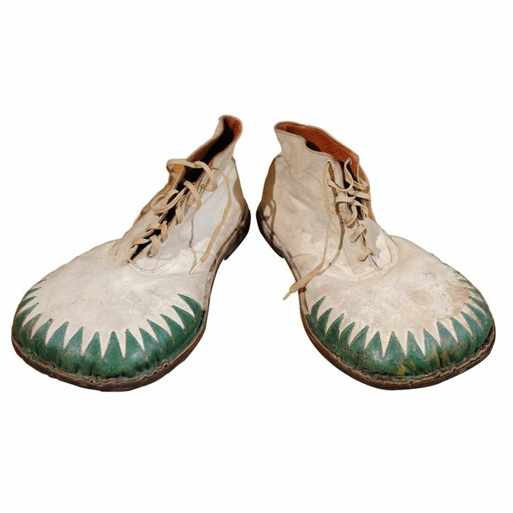 Circus Clown Shoes  USA  1950's  A playful pair of leather zig zag grass blade style clown shoes