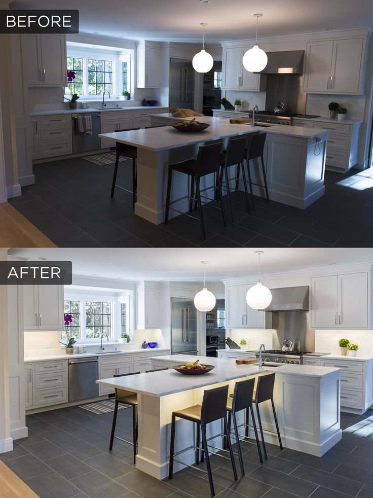 Before + after under cabinet lighting in a recently remodeled kitchen