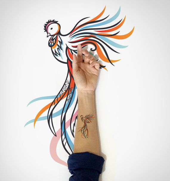Phoenix Temporary Tattoo / Bird Temporary Tattoo / by EasternCloud