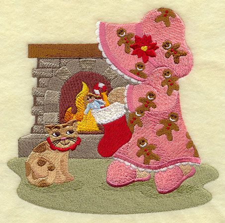Sunbonnet Sue with Christmas Stocking
