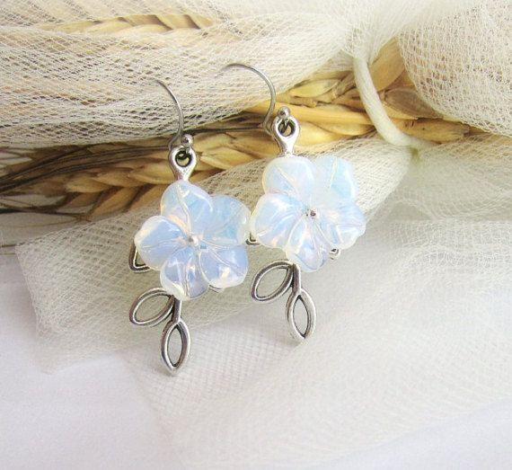 Opalite moonstone flower earrings opalite by MalinaCapricciosa