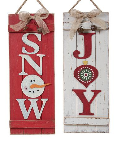 This 'Snow' & 'Joy' Wood Wall Sign - Set of Two is perfect! #zulilyfinds