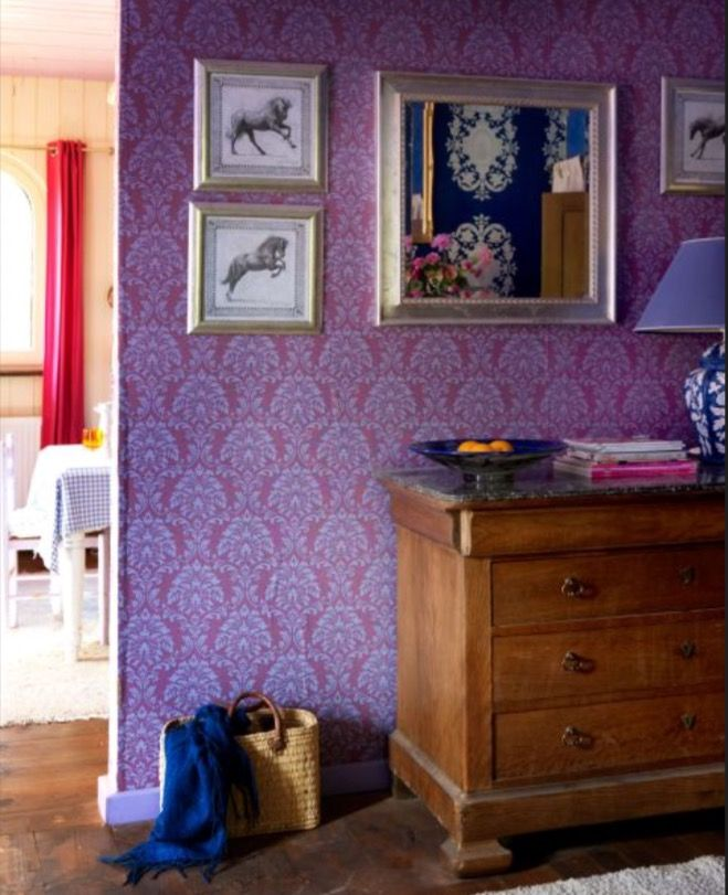"This purple wallpaper is from our feature ""Heavenly Living"""