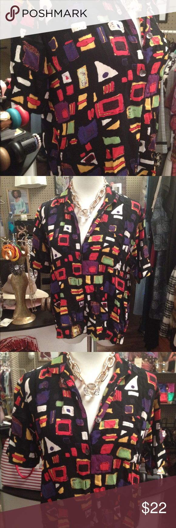 Chicos Vintage Abstract art blouse Beautiful blouse & bright in color. 90s style a vintage lovers dream Chico's Tops Button Down Shirts