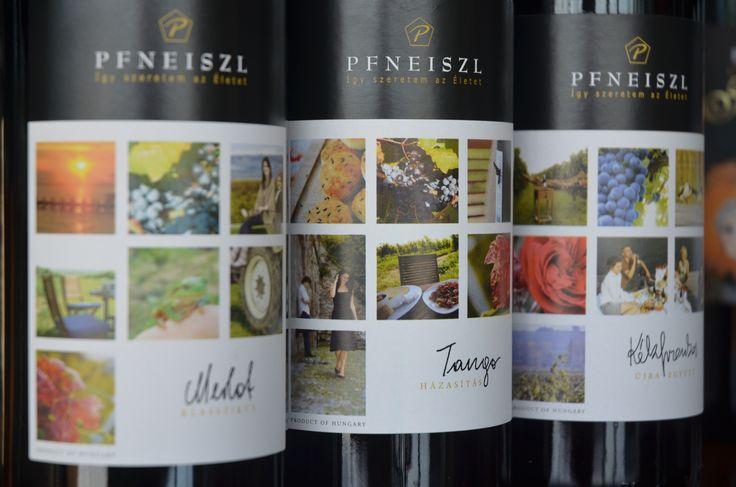 Pfneiszl bottles of the Merlot, Kékfrankos and Tango Cuvée