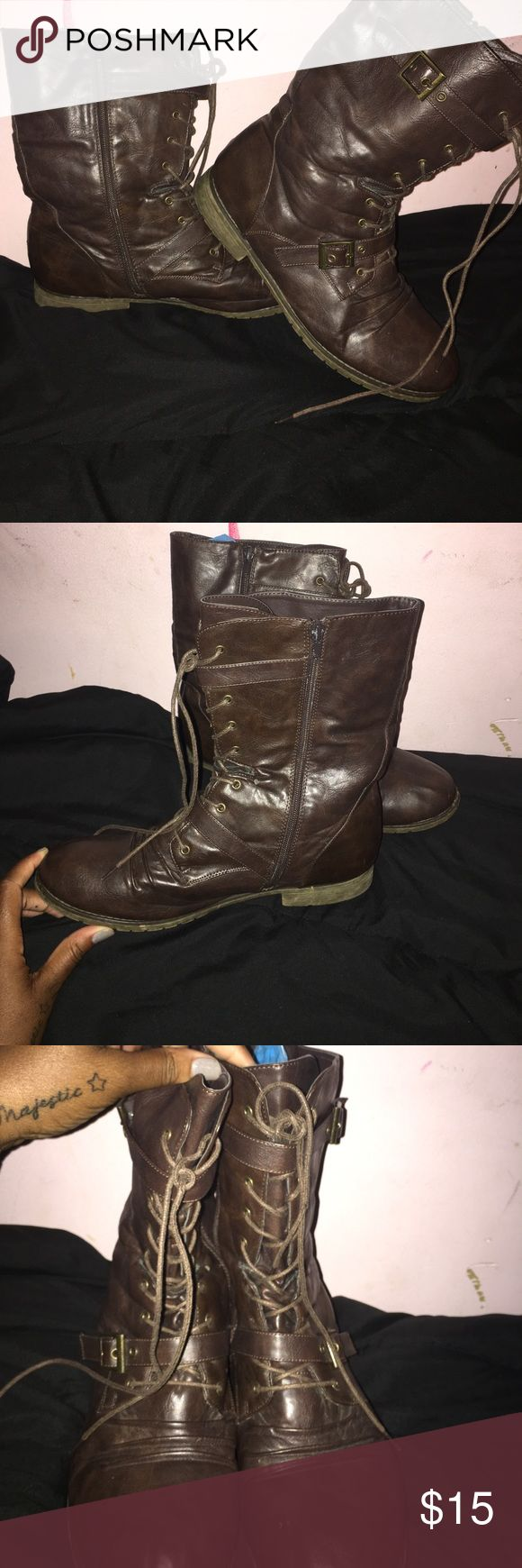 Women's combat boots size 12W brown Size 12 W women's combat boots barely worn like new no call Shoes Combat & Moto Boots