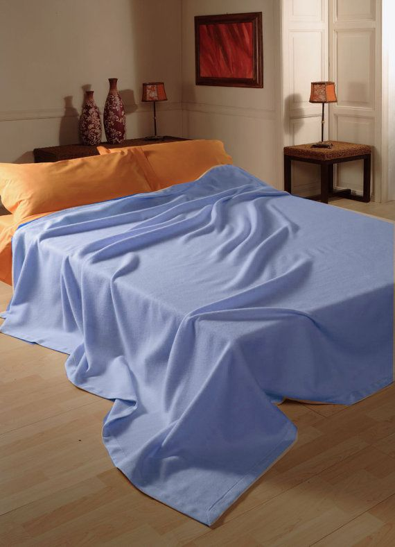 Small double Size Spring Blanket in Pure WOOL, colors dove grey natural, light blue, pink Brughiera Made in Italy FREE Shipment