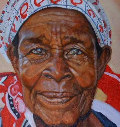 SOLD - Close up of Mozambiquen woman...loved her eyes.