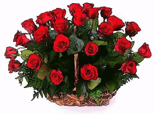 χρόνια πολλά με καλάθι με κόκκινα τριαντάφυλλα