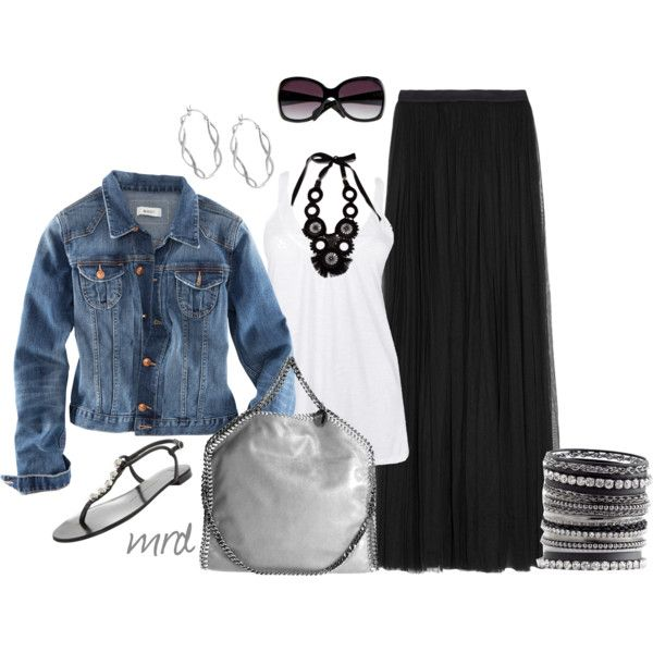 Outfit idea with basics: the black maxi: Dreams Closet, Jeans Jackets, White Shirts, Maxi Skirts Outfits, Denim Jackets, Black Maxi Skirts, Black White, Craig Redl, Black Necklaces