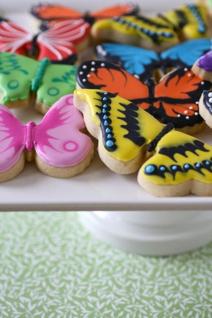 butterfly sugar cookies with royal icing