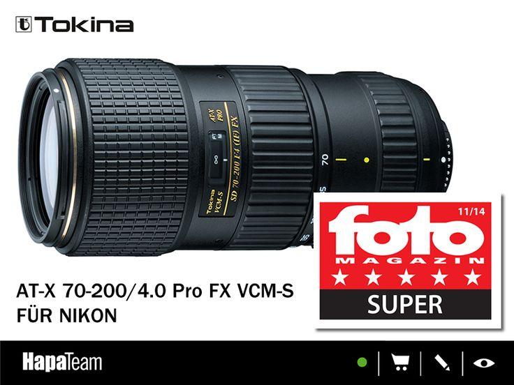 """Prädikat SUPER für das neue Tokina AT-X 4/70-200 mm!  """"Neue Objektive bringt Tokina nur selten heraus, aber wenn, dann können sie mit den Originalherstellern sehr gut mithalten. Das gilt auch für das – wie immer preislich attraktive – Tokina AT-X 4/70-200 mm Pro FX VCM-S."""" ( fotoMAGAZIN Ausgabe 11/2014)   Mehr Infos zum Objektiv unter: http://www.hapa-team.de/OBJEKTIVE/Telezoomobjektive/AT-X-70-200-4-0-Pro-FX-VCM-S::8097.html  #tokina #hapateam #yourbigmoment"""