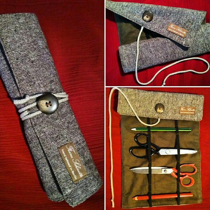 Wickel-Mappe, Roll-Tasche, roll case, wrapped case, tool case, tweed, wool, vintage, heritage