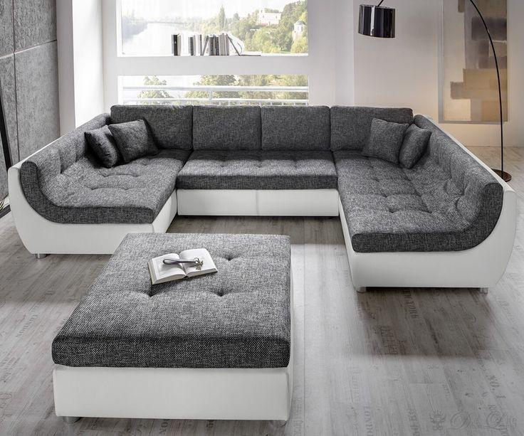 Polstermöbel mit schlaffunktion  Vuelo Grau Weiss Sofa mit Schlaffunktion Wohnlandschaft mit Hocker ...