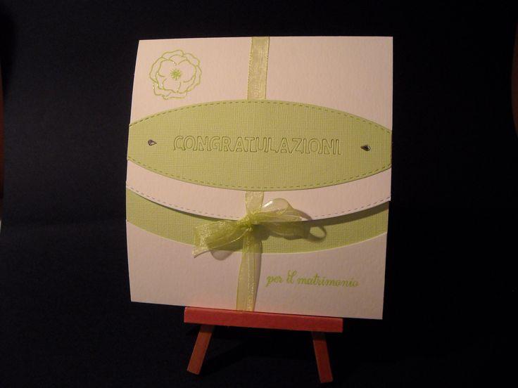 """Biglietto per un matrimonio realizzato con la fustella e il timbro di """"La Coppia Creativa"""" http://www.lacoppiacreativa.com/"""