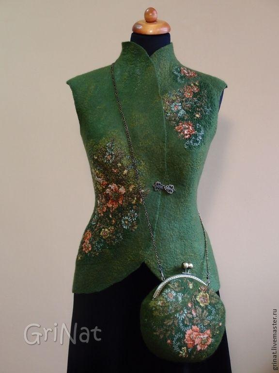 """Купить Валяный жилет""""В ожидании весны"""" - оливковый, цветочный, валяние из шерсти, grinat, валяный жилет"""