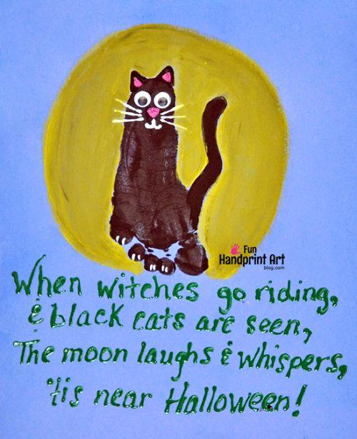 Footprint Black Cat Craft & Cute Halloween Poem