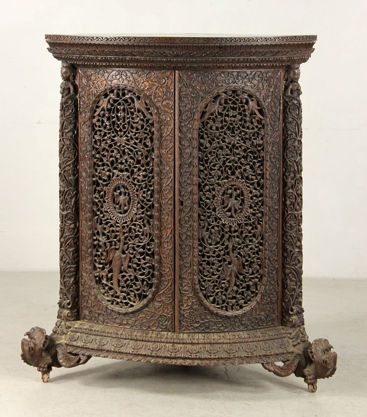 19th C. Anglo Indian Carved Cabinet