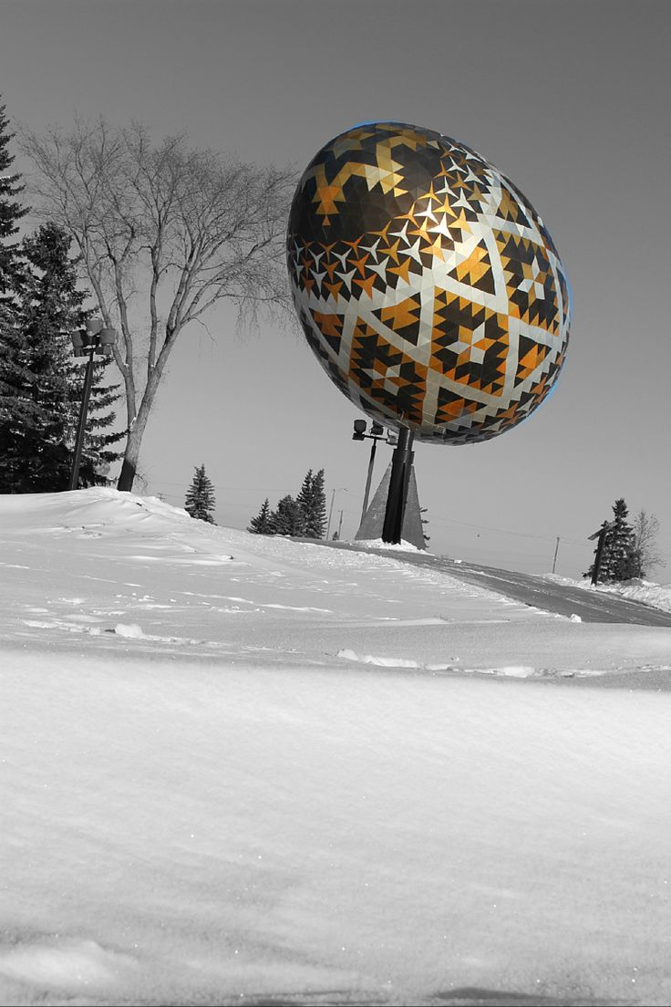 Pysanka on a cold day