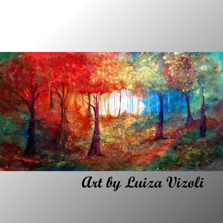Originale pittura astratta di grandi alberi paesaggio su tela
