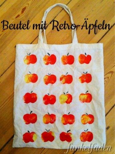 Kleine Anleitung für einen herbstlichen Beutel mit Retro-Äpfeln. Gedruckt mit Kartoffelstempeln