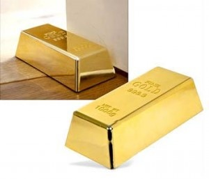 "Gold Bar Door Stop: If you're tired of living the humble life and want to show off to everyone then these Gold Bar Door Stops are for you. The whole world will know ""you've made it"" when they see these gold bars in your home.: Gold Bar, Bullion Doorstop, S'More Bar, S'Mores Bar, Bar Doorstop, Goldbar Dooropen, Gold Bullion, Gold Doors, Doors Stoppers"
