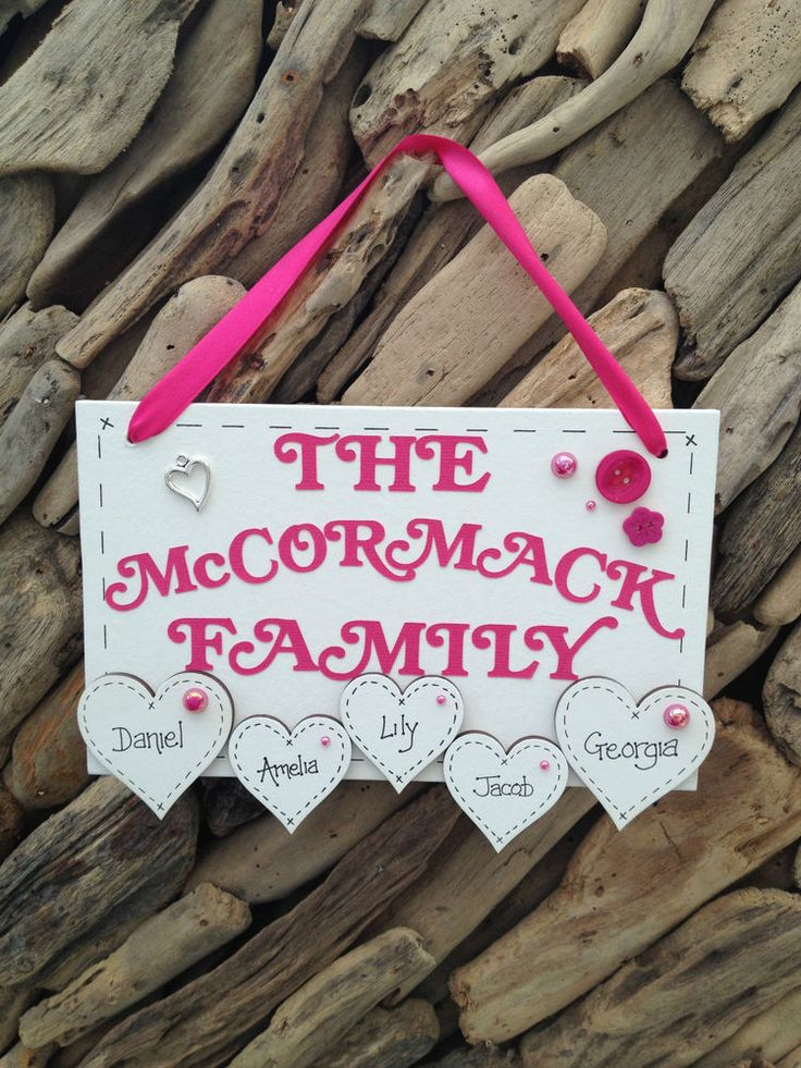 Personalised Family Name Surname Handmade  Plaque Sign Hearts Present Gift