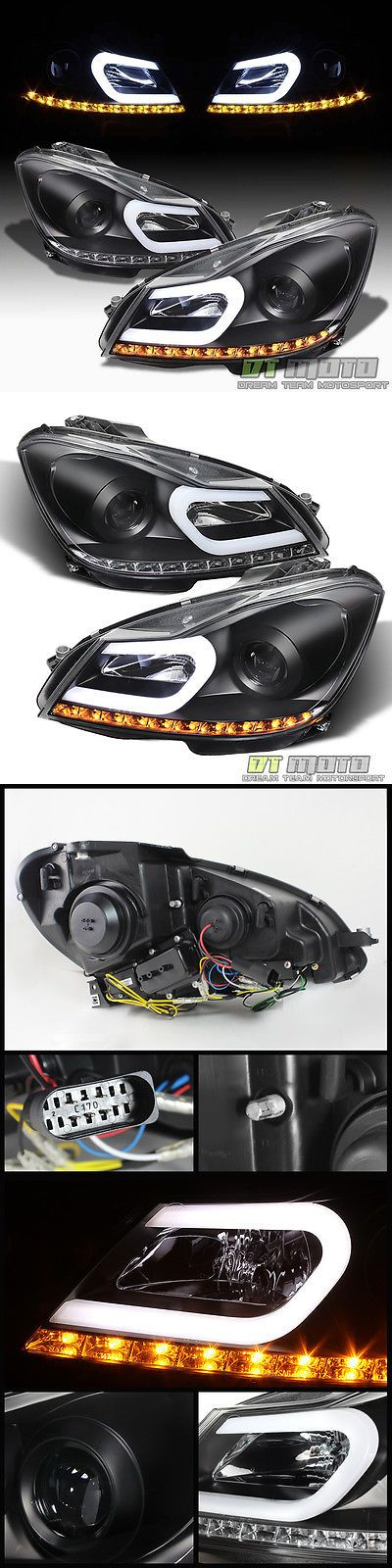 Motors Parts And Accessories: Black 2012-2014 Mercedes Benz W204 C-Class Led Signal Drl Projector Headlights -> BUY IT NOW ONLY: $363.99 on eBay!